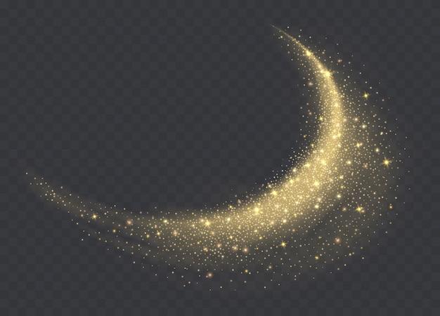 Złota Chmura Pyłu Z Błyszczy Na Przezroczystym Tle. Błyszczące Tło Gwiezdnego Pyłu. świecący Brokatowy Dym Lub Plusk. Premium Wektorów