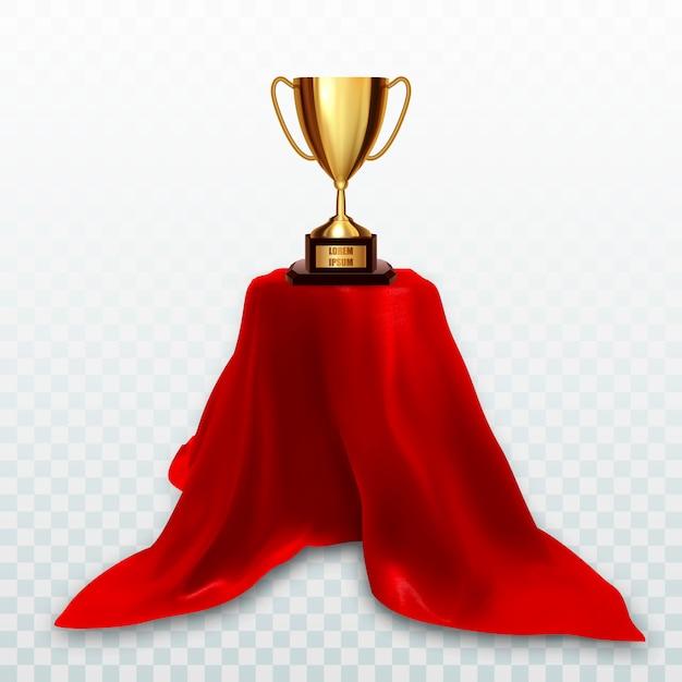 Złota czara trofeum na cokole z czerwonego sukna Premium Wektorów
