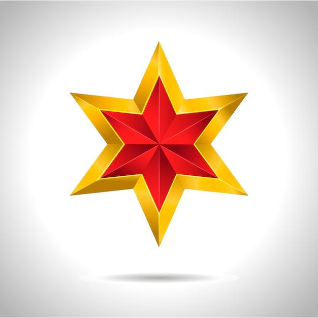 Złota Czerwona Gwiazda Ilustracja Symbol Sztuki Premium Wektorów