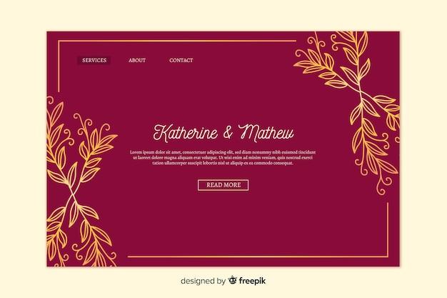 Złota elegancka strona docelowa ślubu Darmowych Wektorów