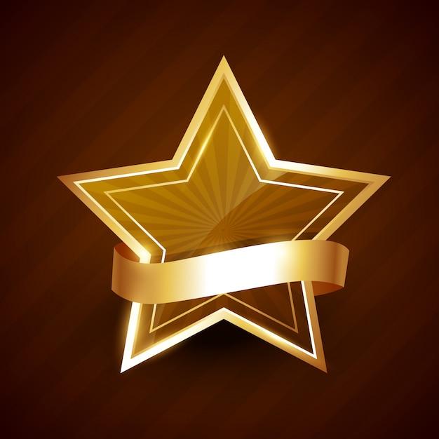 Złota gwiazda świeci wstążką Premium Wektorów