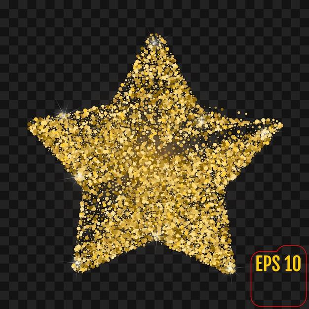 Złota gwiazda z błyska odosobnionego na czerni Premium Wektorów