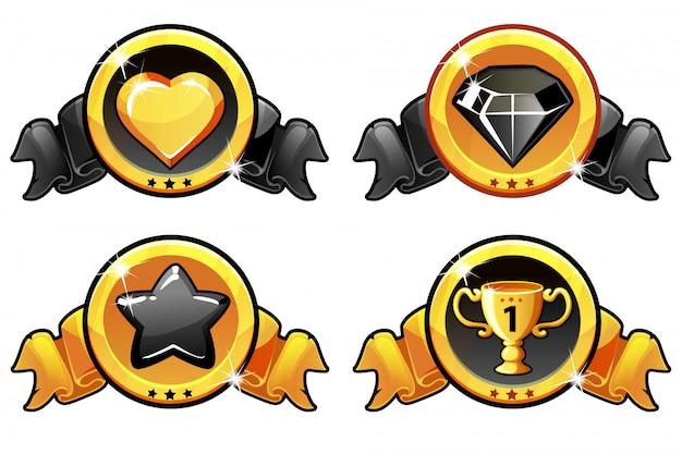 Złota I Czarna Ikona Designu Do Gry, Transparent Wektor Ui Premium Wektorów