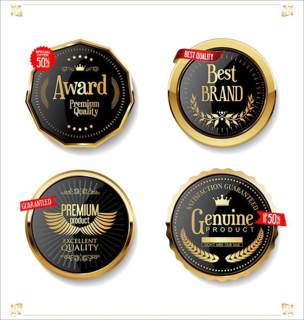 Złota i czarna kolekcja odznaki i etykiety retro sprzedaż Premium Wektorów