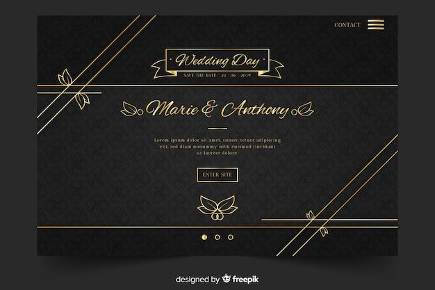 Złota i czarna strona docelowa ślubu Darmowych Wektorów