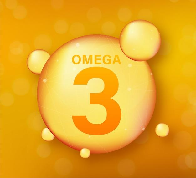 Złota Ikona Omega 3. Kapsułka Z Witaminą. Błyszcząca Złota Kropla Esencji. Ilustracja. Premium Wektorów