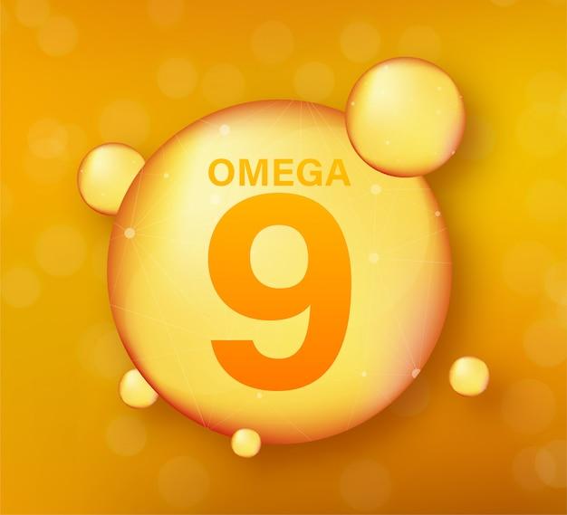 Złota Ikona Omega 9. Kapsułka Z Witaminą. Błyszcząca Złota Kropla Esencji. Ilustracja. Premium Wektorów
