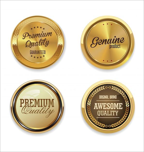 Złota Kolekcja Etykiet Premium Wektorów