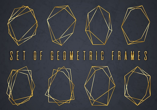 Złota kolekcja geometrycznego wielościanu Premium Wektorów