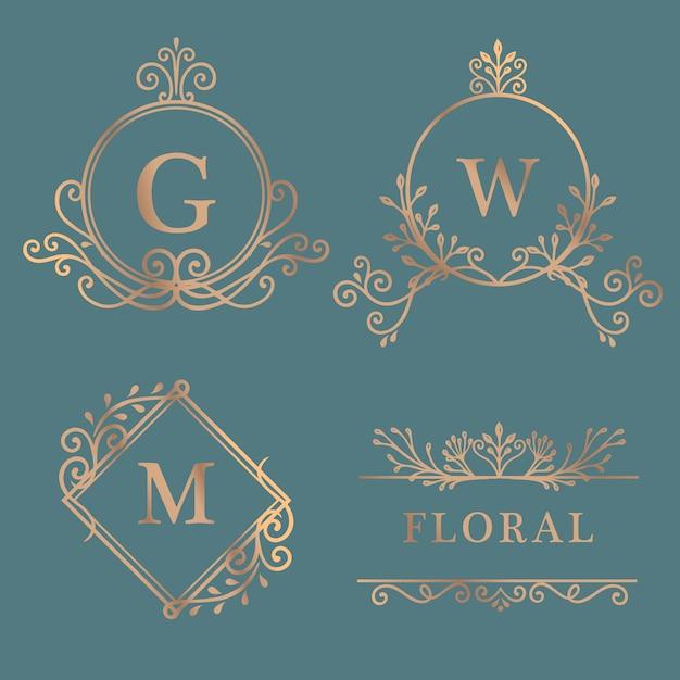 Złota kolekcja logo w ramkach Darmowych Wektorów