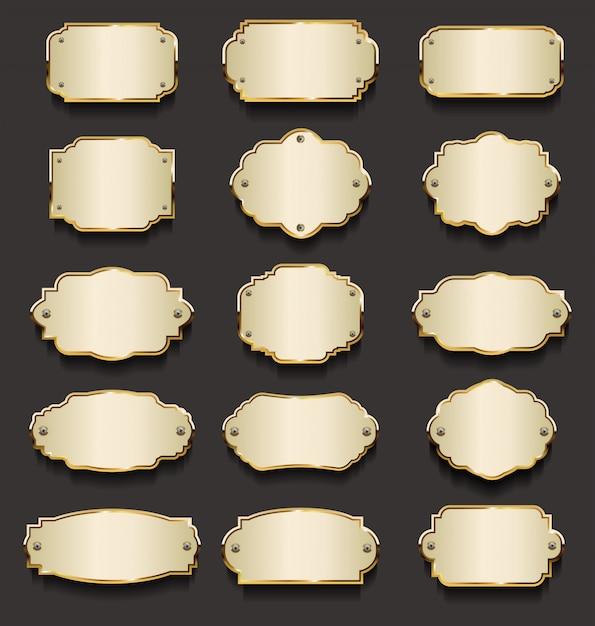 Złota kolekcja metalowych płyt Premium Wektorów