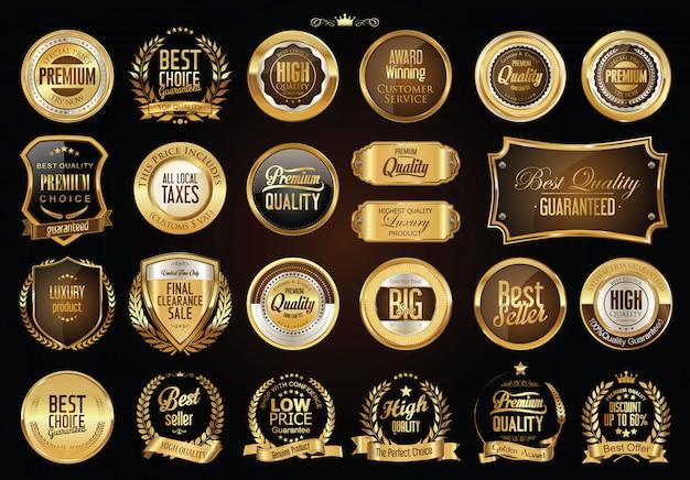 Złota kolekcja odznak Premium Wektorów
