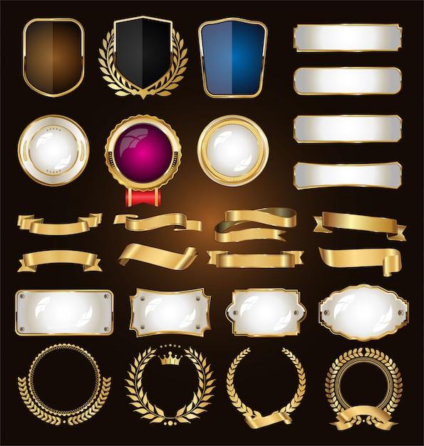 Złota kolekcja różnych wstążek oznacza laury i tarcze Premium Wektorów