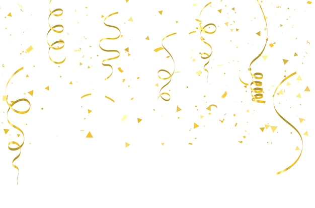 Złota konfetti uroczystości karnawałowe wstążki. Premium Wektorów