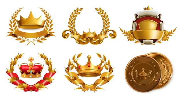 Złota Korona I Wieniec Laurowy. 3d Wektor Logo Premium Wektorów