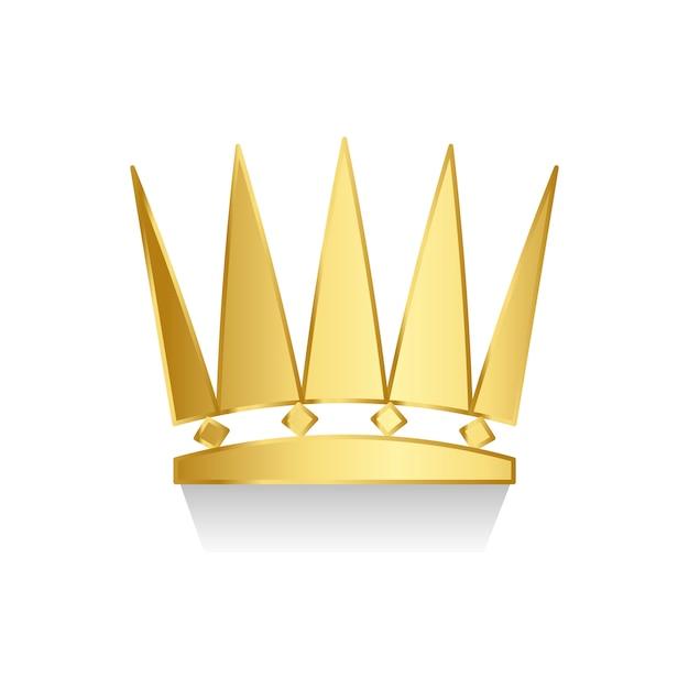 Złota korona na białym tle Darmowych Wektorów