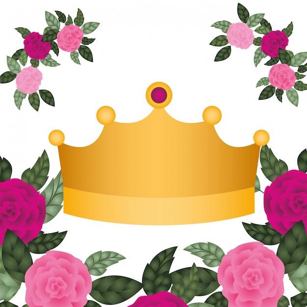 Złota korona z różami na białym tle ikona Premium Wektorów