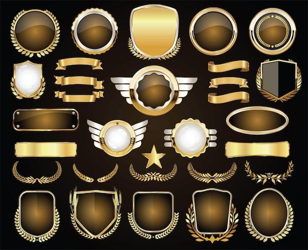 Złota Odznaka I Etykiety Kolekcja Retro Vintage Premium Wektorów