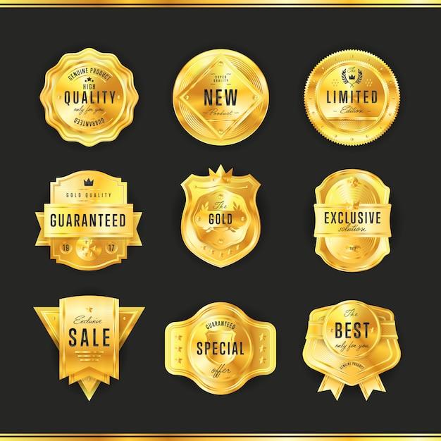 Złota Odznaka Z Czarnym Tekstem Na Białym Tle Premium Wektorów