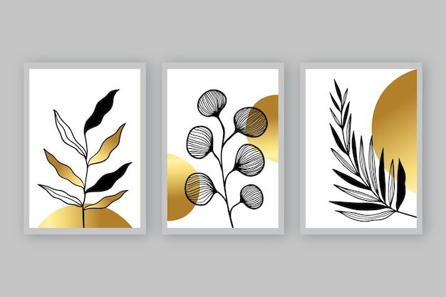 Złota Okładka Botaniczna Premium Wektorów
