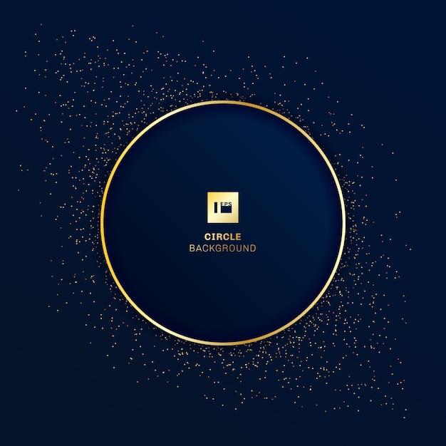 Złota Okrągła Odznaka Niebieskie Tło Premium Wektorów