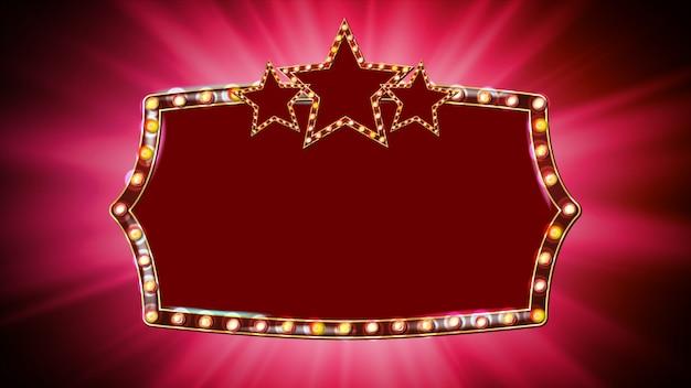 Złota rama wektor żarówki. czerwone tło. lampa star frame. deska elementu projektu retro. marquee banner. copyspace Premium Wektorów