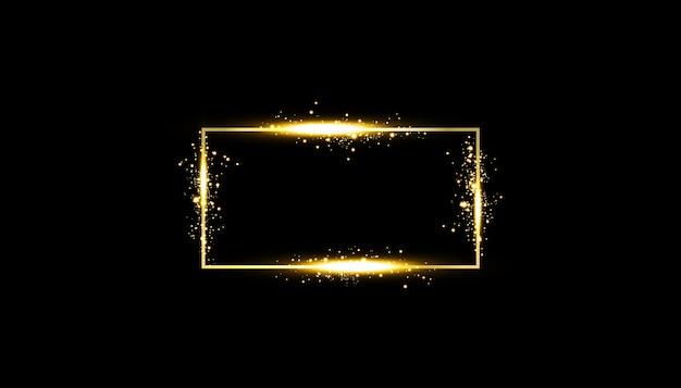 Złota Rama Z Efektami świetlnymi. świecący Baner Prostokątny. Pojedynczo Na Czarnym Tle. Ilustracji Wektorowych. Premium Wektorów