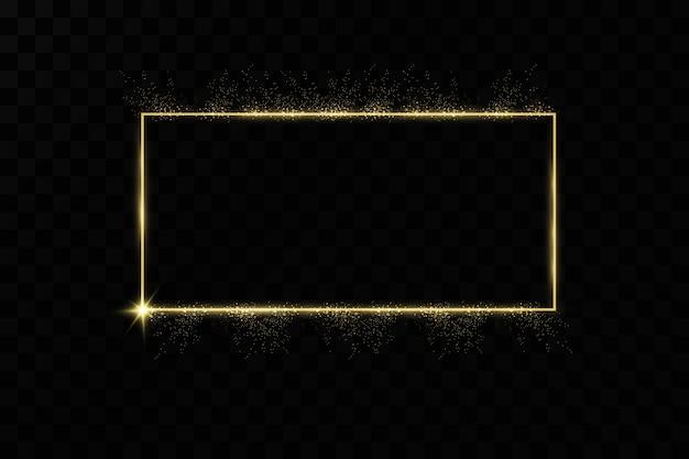 Złota Rama Z Efektami świetlnymi. świecący Baner Prostokątny. Premium Wektorów