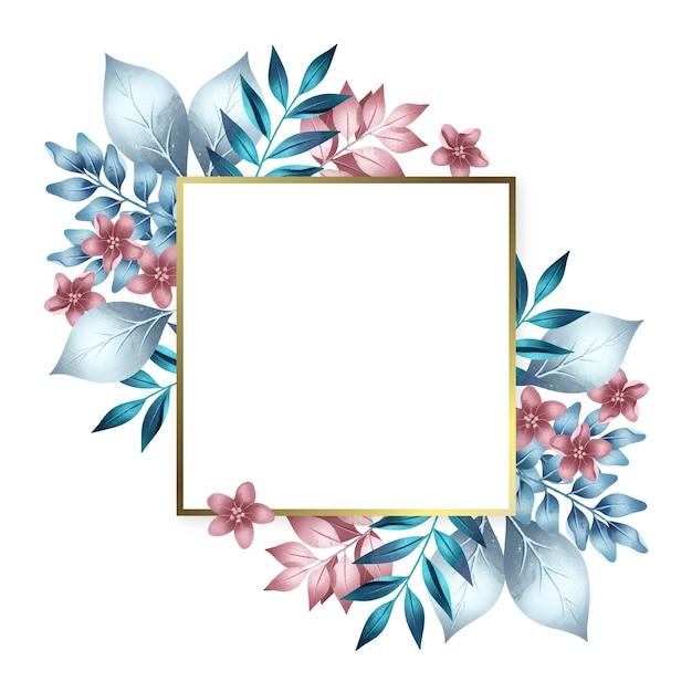 Złota Rama Z Kolorowymi Zimowymi Kwiatami Darmowych Wektorów