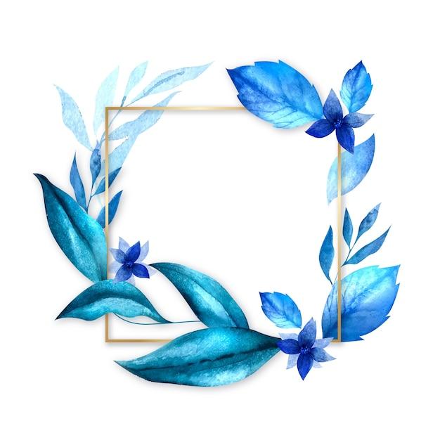 Złota rama z zimowymi kwiatami Darmowych Wektorów