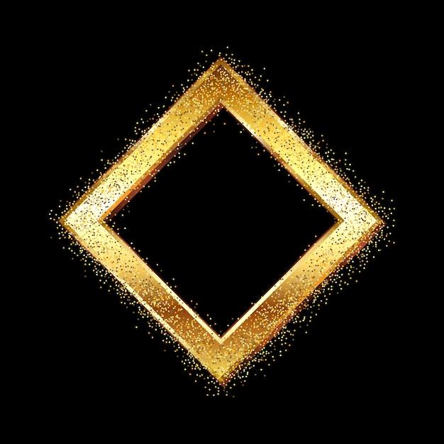 Złota ramka z brylantem na brokacie Darmowych Wektorów