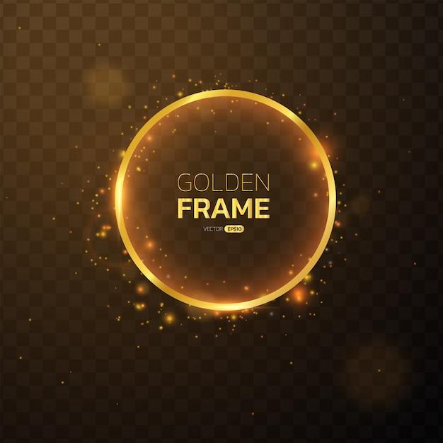 Złota ramka z efektami świetlnymi okrągłym banerem. Premium Wektorów