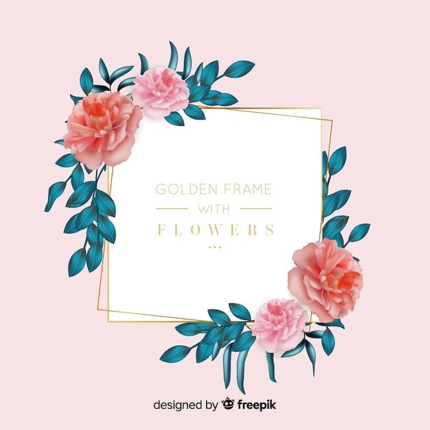 Złota ramka z kwiatami Darmowych Wektorów