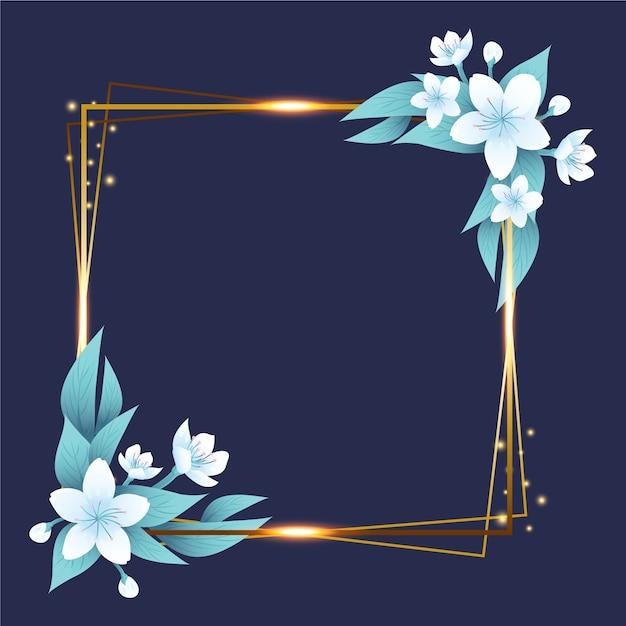 Złota Ramka Z Zimowych Kwiatów Darmowych Wektorów