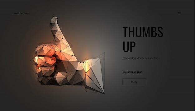 Złota Ręka, Kciuk W Górę. Model Szkieletowy Wielokąta Geometrycznego Premium Wektorów