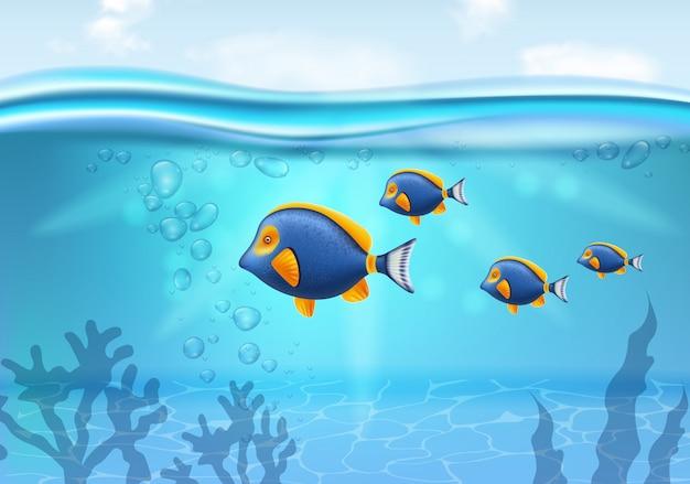 Złota Rybka Pod Wodą Premium Wektorów