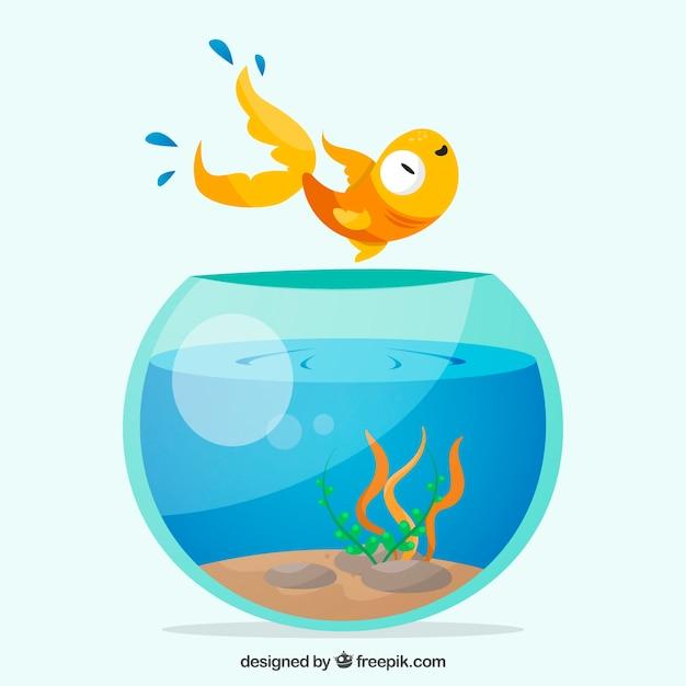 Złota Rybka, Wyskakując Z Akwarium W Płaski Darmowych Wektorów