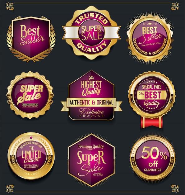 Złota sprzedaż etykiet kolekcja retro vintage design Premium Wektorów
