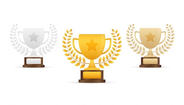 Złota, Srebrna I Brązowa Trofeum Pucharu Płaski Ikona Z Wieńcem Gwiazdy I Laurowym Premium Wektorów