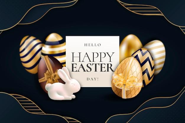 Złota Szczęśliwa Wielkanocna Tapeta Darmowych Wektorów