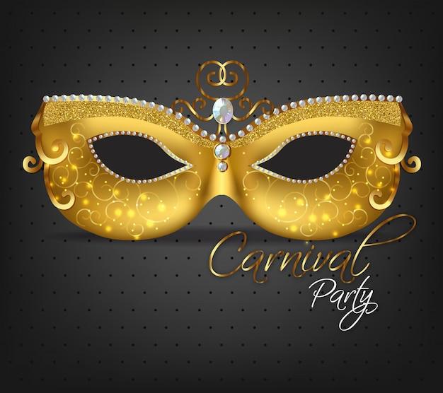 Złota zdobiona maska Premium Wektorów