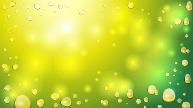 Złote Bąbelki Oleju Z Konopi Indyjskich Na Zielono Niewyraźne Premium Wektorów