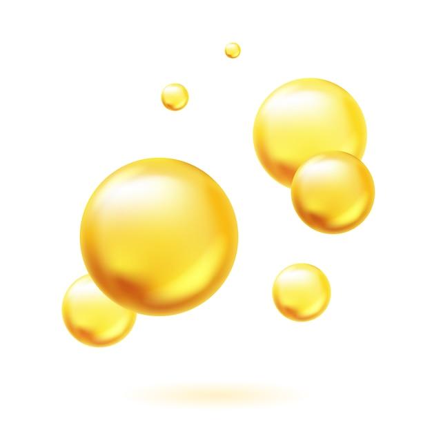 Złote Bąbelki Oleju Premium Wektorów