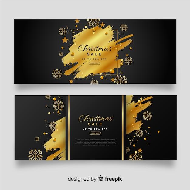 Złote Banery Sprzedaż Boże Narodzenie Darmowych Wektorów