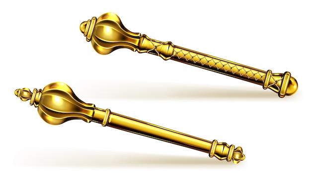 Złote Berło Dla Króla Lub Królowej, Królewska Różdżka Dla Monarchy Darmowych Wektorów