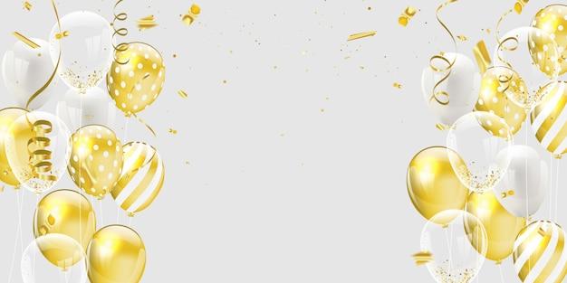 Złote Białe Balony Premium Wektorów
