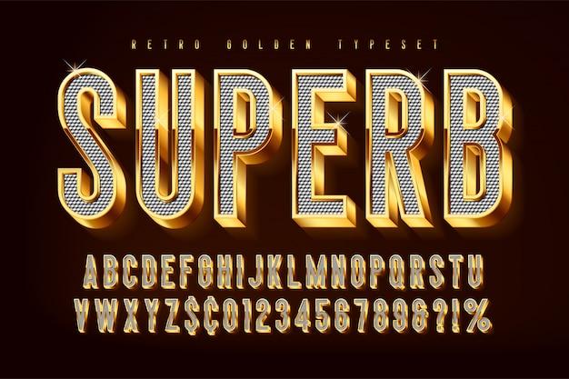 Złote Błyszczące Czcionki 3d, Złote Litery I Cyfry Premium Wektorów