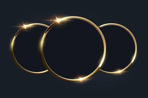 Złote Błyszczące Pierścienie Z Copyspace Na Ciemnym Tle. Premium Wektorów