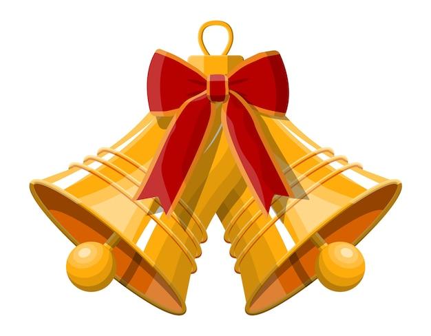Złote Dzwonki świąteczne Z Czerwoną Kokardą. Dekoracja Szczęśliwego Nowego Roku. Wesołych świąt Bożego Narodzenia. Nowy Rok I święta Bożego Narodzenia. Premium Wektorów
