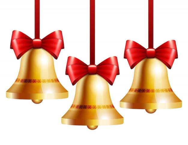 Złote Dzwony Z Czerwoną Kokardą Premium Wektorów